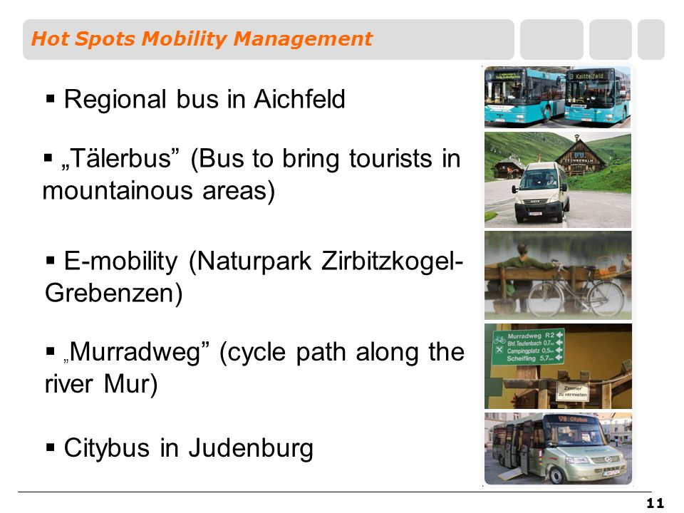 11 Regional bus in Aichfeld Tälerbus (Bus to bring tourists in mountainous areas) E-mobility (Naturpark Zirbitzkogel- Grebenzen) Hot Spots Mobility Ma