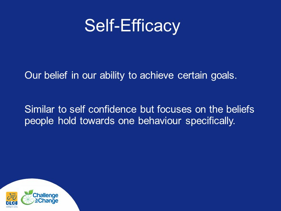 Self-Efficacy Our belief in our ability to achieve certain goals.