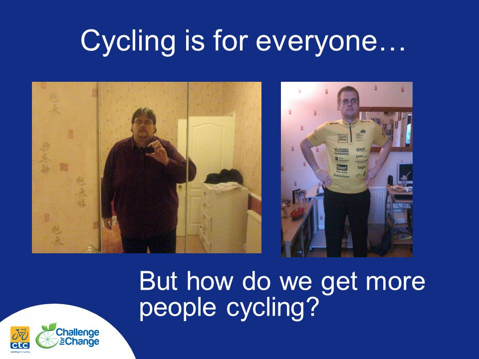 Male Non-cyclists Male non-cyclists at baseline NonOccasionalRegular Once a week or more 25-34 years Total N=105 34%38%28%43% 35-44 years Total N=152 34%28%38%51% 45-54 years Total N=112 31%41%28%47%