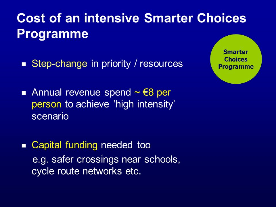 Cost of an intensive Smarter Choices Programme Step-change in priority / resources Annual revenue spend ~ 8 per person to achieve high intensity scenario Capital funding needed too e.g.