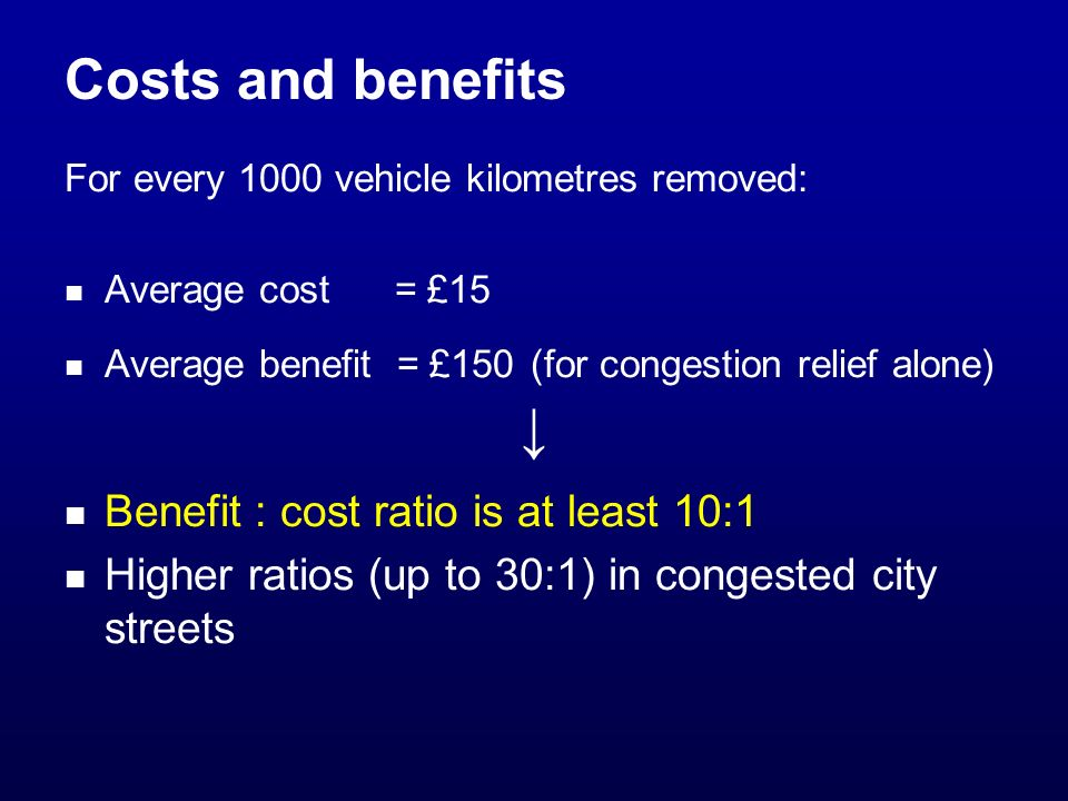 Costs and benefits For every 1000 vehicle kilometres removed: Average cost = £15 Average benefit = £150 (for congestion relief alone) Benefit : cost ratio is at least 10:1 Higher ratios (up to 30:1) in congested city streets