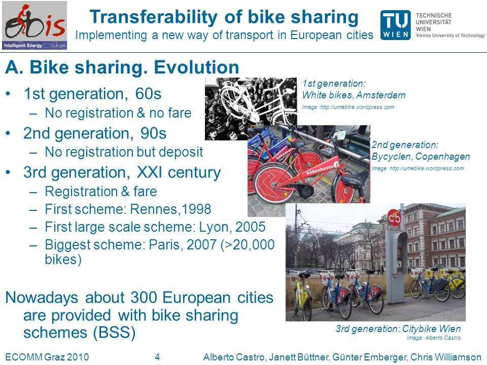 Transferability of bike sharing Implementing a new way of transport in European cities ECOMM Graz 2010Alberto Castro, Janett Büttner, Günter Emberger, Chris Williamson4 A.
