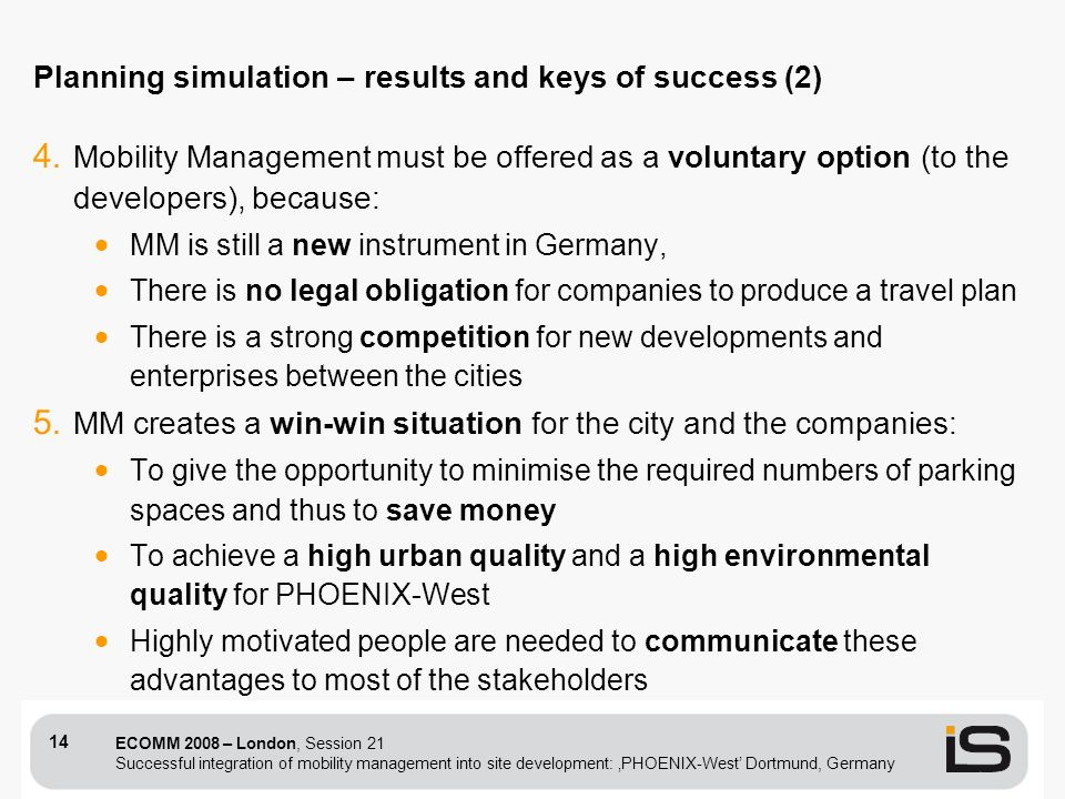 ECOMM 2008 – London, Session 21 Successful integration of mobility management into site development: PHOENIX-West Dortmund, Germany 14 4. Mobility Man