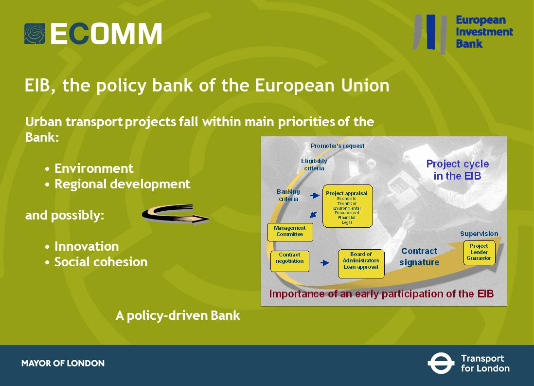 Urban transport projects fall within main priorities of the Bank: Environment Regional development and possibly: Innovation Social cohesion EIB, the p