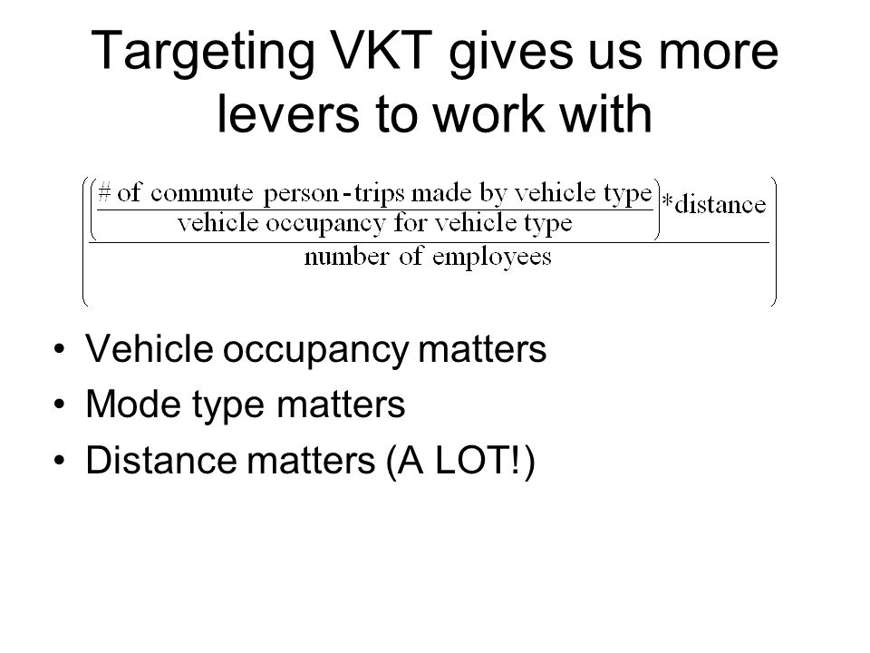 Targeting VKT gives us more levers to work with Vehicle occupancy matters Mode type matters Distance matters (A LOT!)