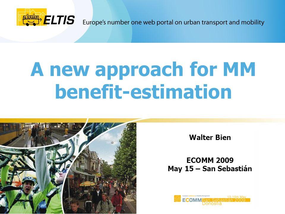 32 Eltis Café @ ECOMM 2009 car (at all) 82% bike (at all) 40% Modal-choice of the inhabitants of Frankfurt (~ 670.000 p.) PT (at all) 43% car (only) 37% bike (only) 6% PT (only) 7% car & PT 16% car & bike 14% PT & bike 5% PT & car & bike 15%