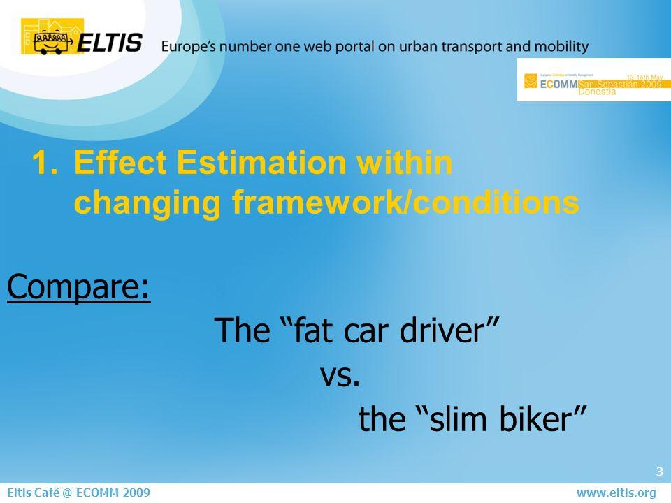 4 Eltis Café @ ECOMM 2009 year Public Transport passengers change- rate (values in millions) 1995 170,0 2001 183,47,9% 2007* 183,80,2% success of mobility management ??.