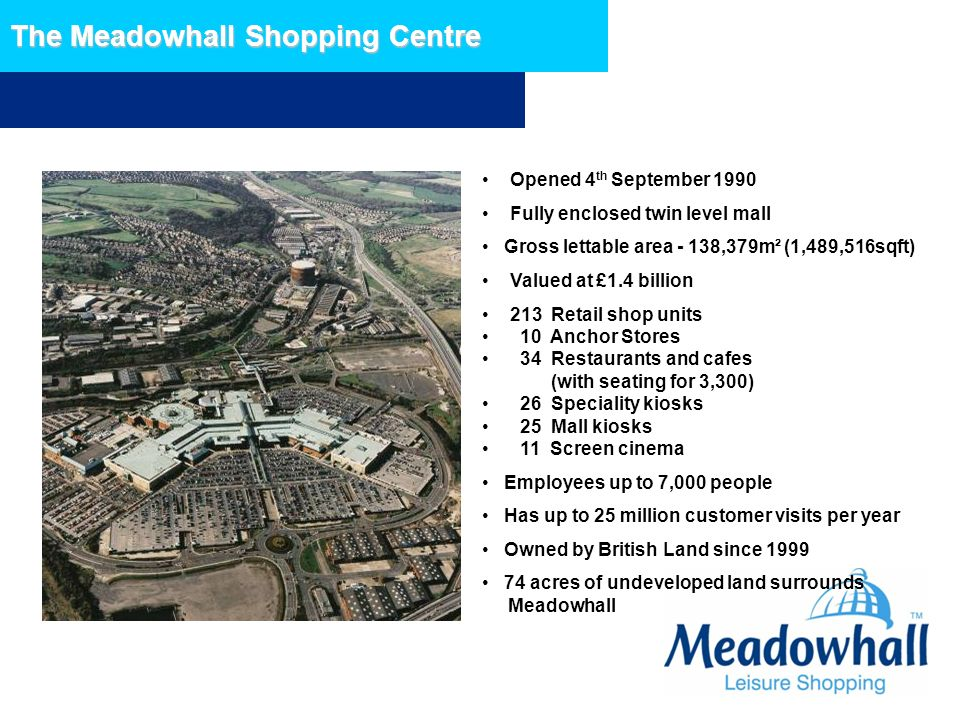 The Meadowhall Shopping Centre Opened 4 th September 1990 Fully enclosed twin level mall Gross lettable area - 138,379m² (1,489,516sqft) Valued at £1.
