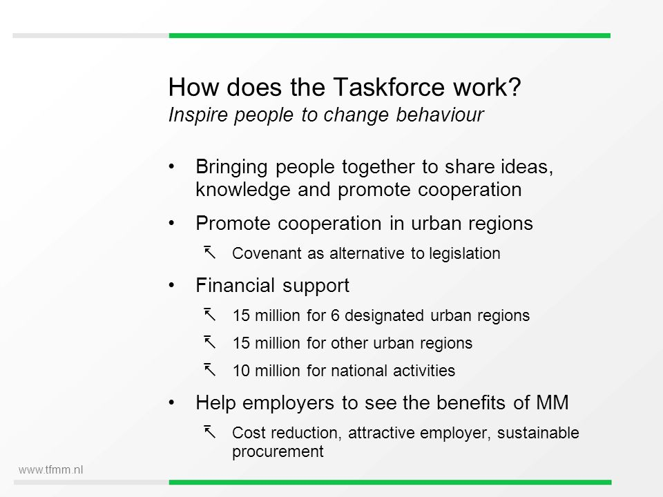 www.tfmm.nl How does the Taskforce work? Inspire people to change behaviour Bringing people together to share ideas, knowledge and promote cooperation