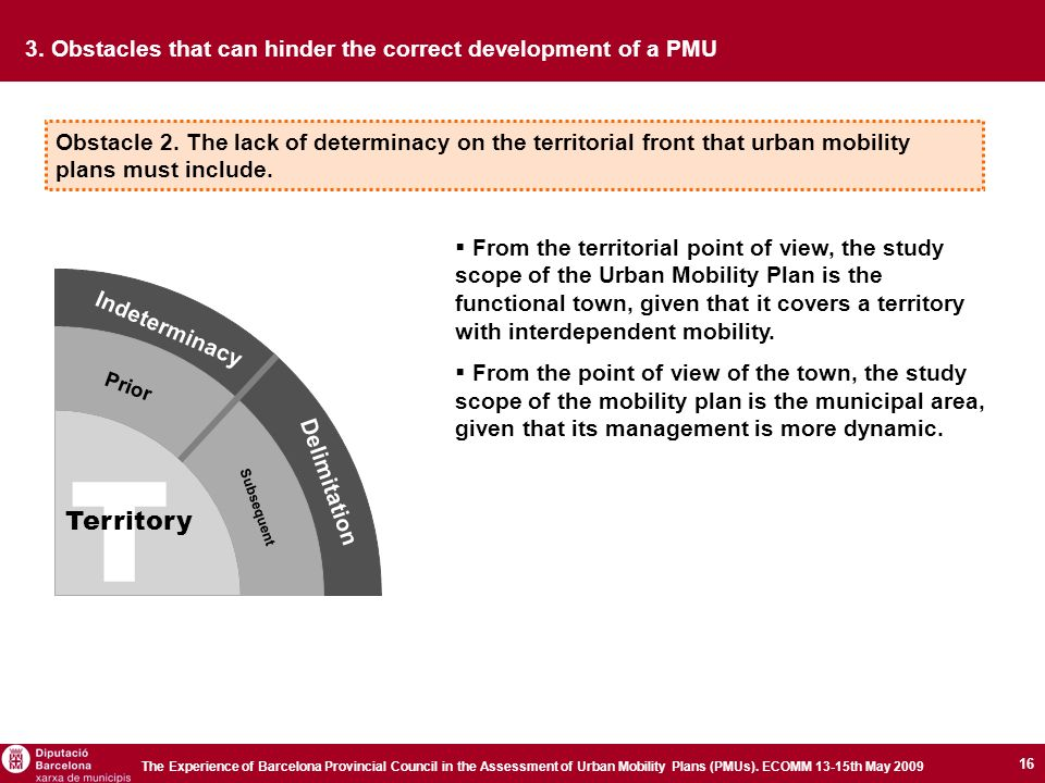 16 The Experience of Barcelona Provincial Council in the Assessment of Urban Mobility Plans (PMUs).