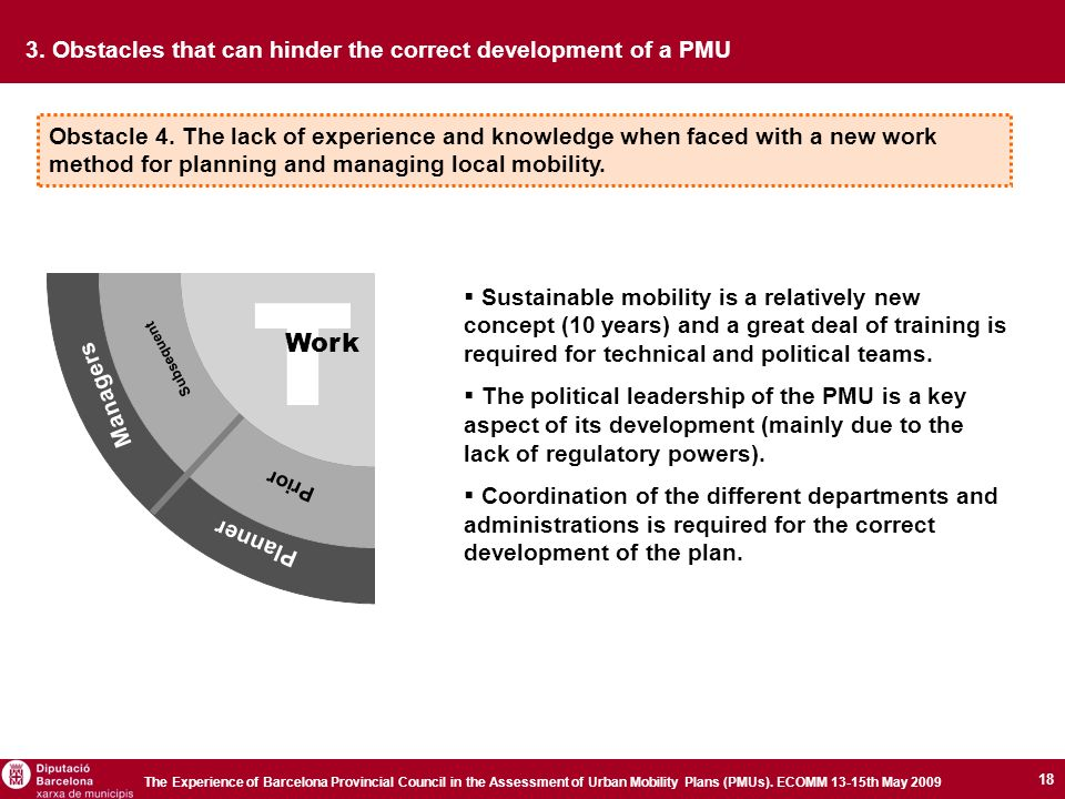 18 The Experience of Barcelona Provincial Council in the Assessment of Urban Mobility Plans (PMUs).