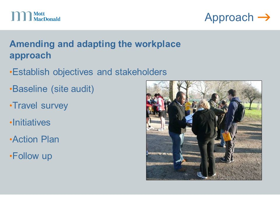 Approach Amending and adapting the workplace approach Establish objectives and stakeholders Baseline (site audit) Travel survey Initiatives Action Plan Follow up