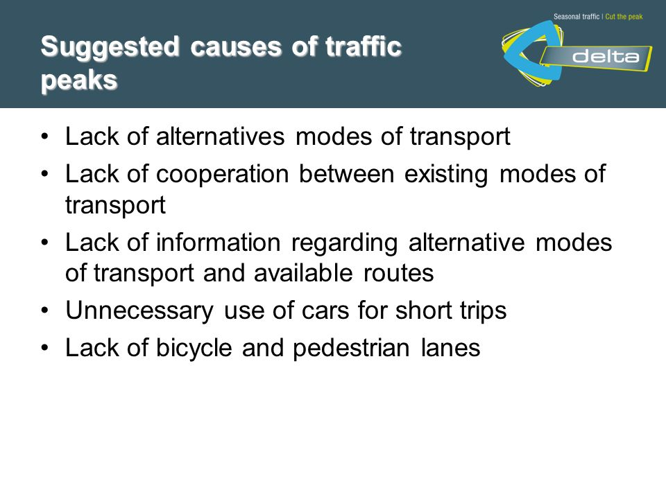 Lack of alternatives modes of transport Lack of cooperation between existing modes of transport Lack of information regarding alternative modes of transport and available routes Unnecessary use of cars for short trips Lack of bicycle and pedestrian lanes Suggested causes of traffic peaks