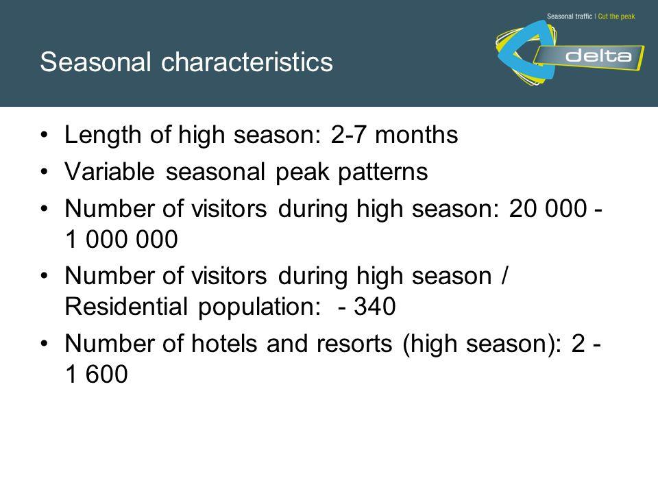 Seasonal characteristics Length of high season: 2-7 months Variable seasonal peak patterns Number of visitors during high season: 20 000 - 1 000 000 N