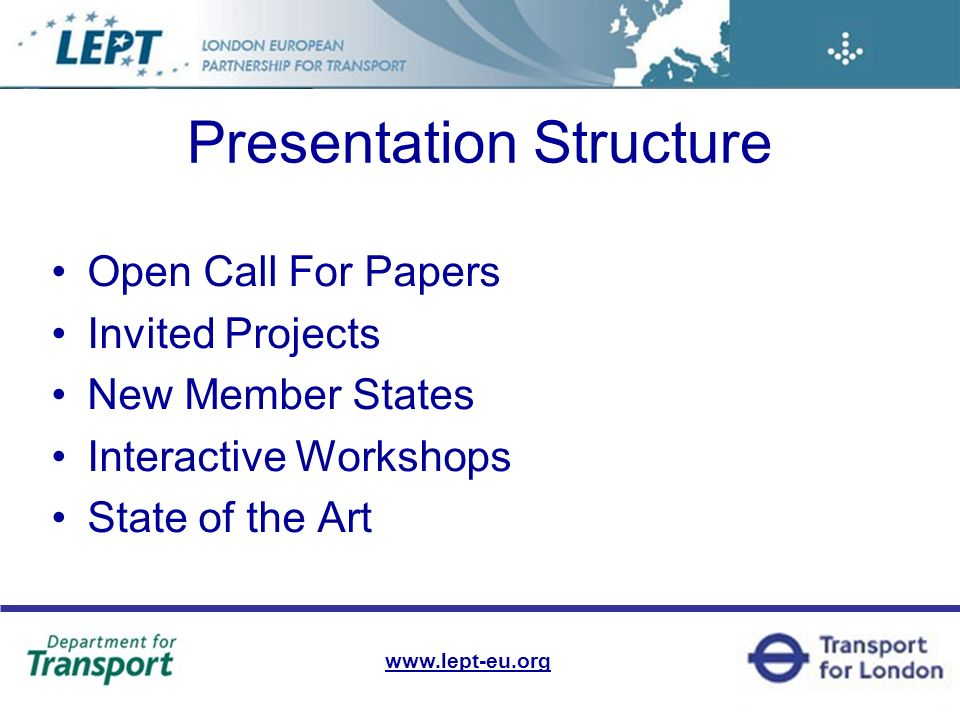 Presentation Structure Open Call For Papers Invited Projects New Member States Interactive Workshops State of the Art