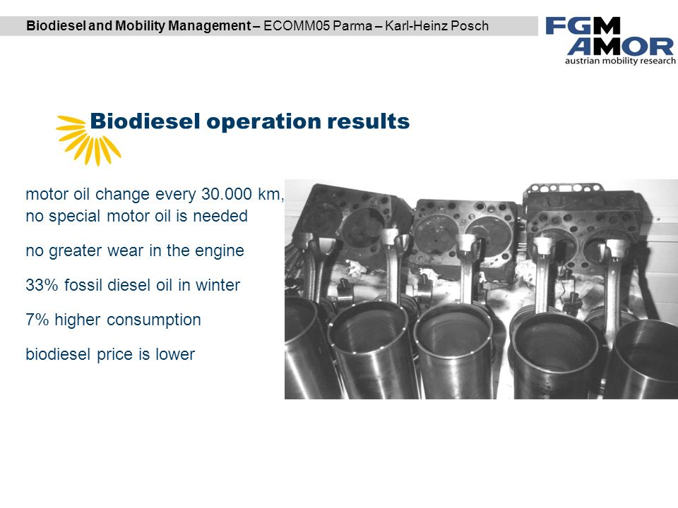 Biodiesel and Mobility Management – ECOMM05 Parma – Karl-Heinz Posch Biodiesel operation results DI Karl Reiter | DI (FH) Markus Garger motor oil change every km, no special motor oil is needed no greater wear in the engine 33% fossil diesel oil in winter 7% higher consumption biodiesel price is lower