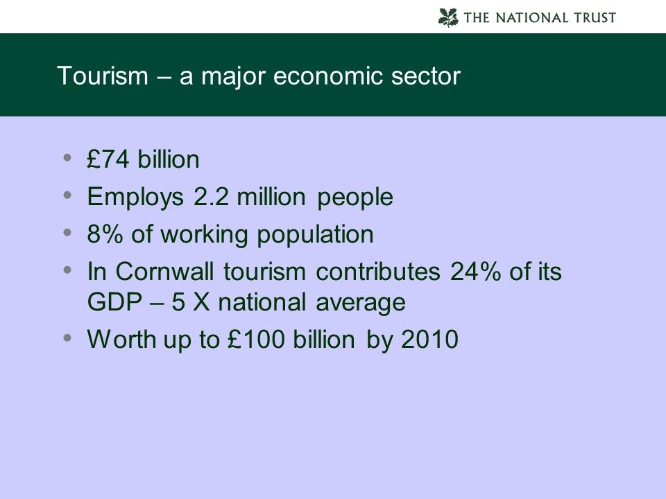 Tourism – a major economic sector £74 billion Employs 2.2 million people 8% of working population In Cornwall tourism contributes 24% of its GDP – 5 X national average Worth up to £100 billion by 2010