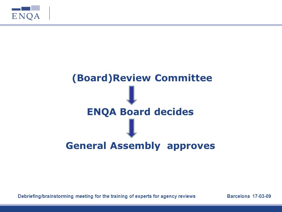 (Board)Review Committee ENQA Board decides General Assembly approves Debriefing/brainstorming meeting for the training of experts for agency reviews B