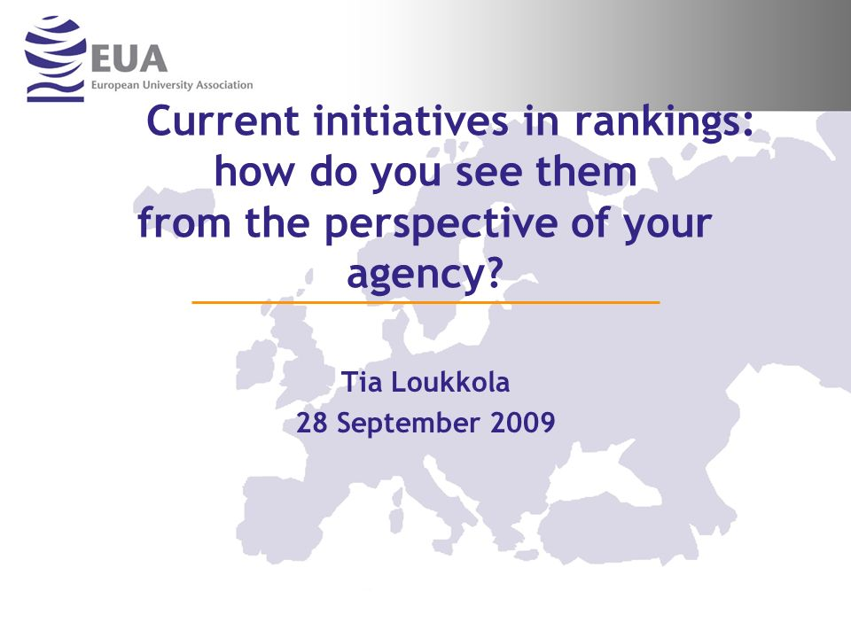Current initiatives in rankings: how do you see them from the perspective of your agency.