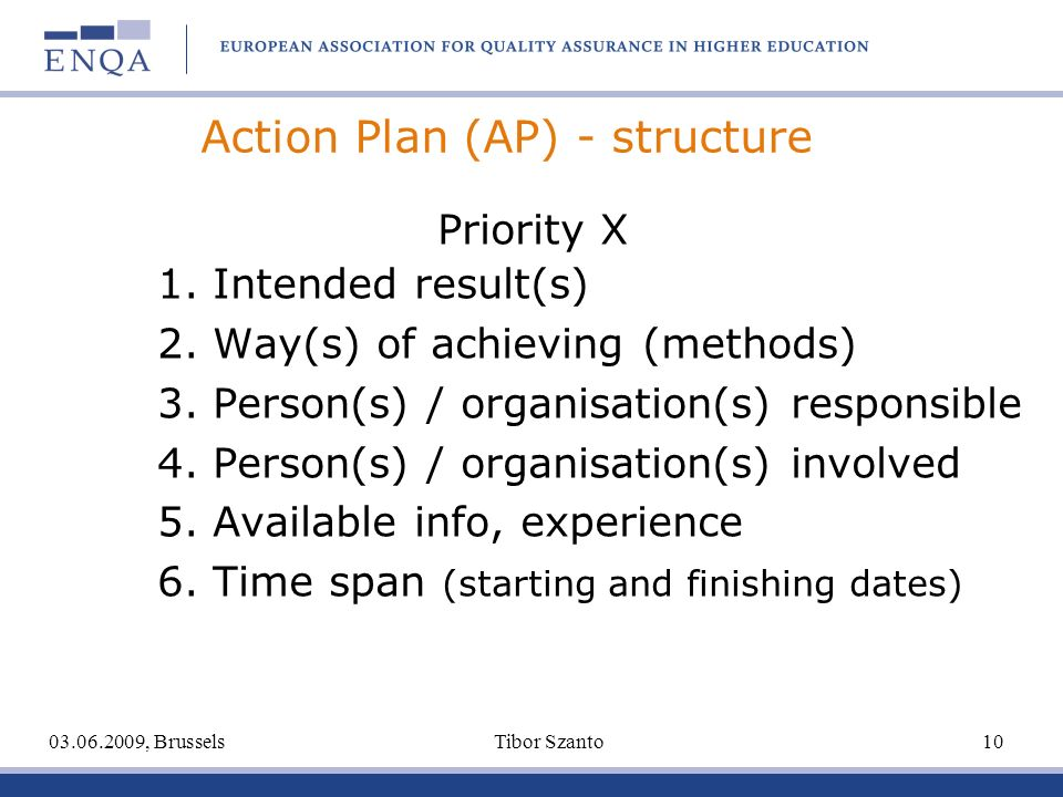 Action Plan (AP) - structure Priority X 1. Intended result(s) 2. Way(s) of achieving (methods) 3. Person(s) / organisation(s) responsible 4. Person(s)