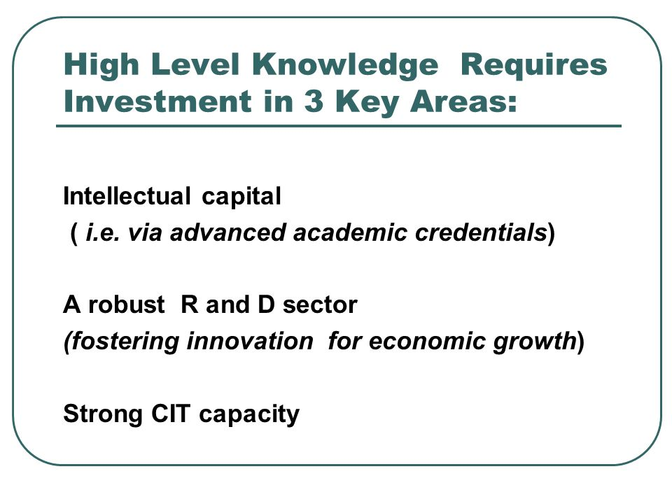 High Level Knowledge Requires Investment in 3 Key Areas: Intellectual capital ( i.e.
