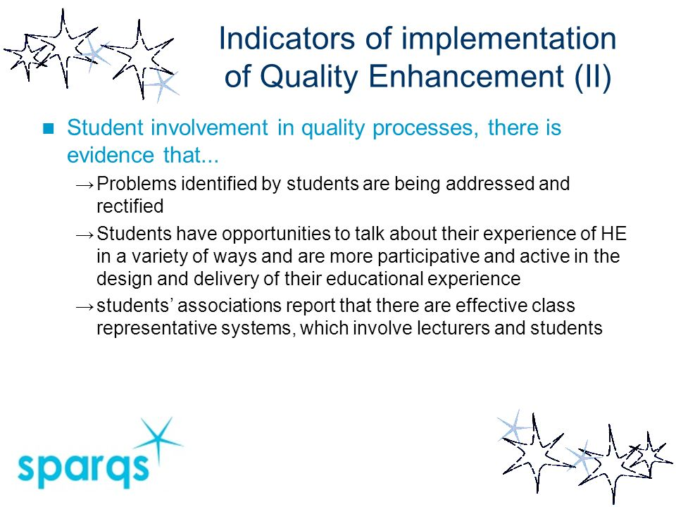 Indicators of implementation of Quality Enhancement (II) Student involvement in quality processes, there is evidence that...