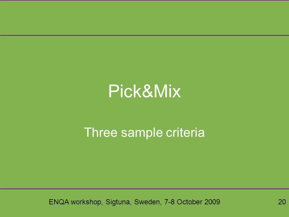 ENQA workshop, Sigtuna, Sweden, 7-8 October 200920 Pick&Mix Three sample criteria