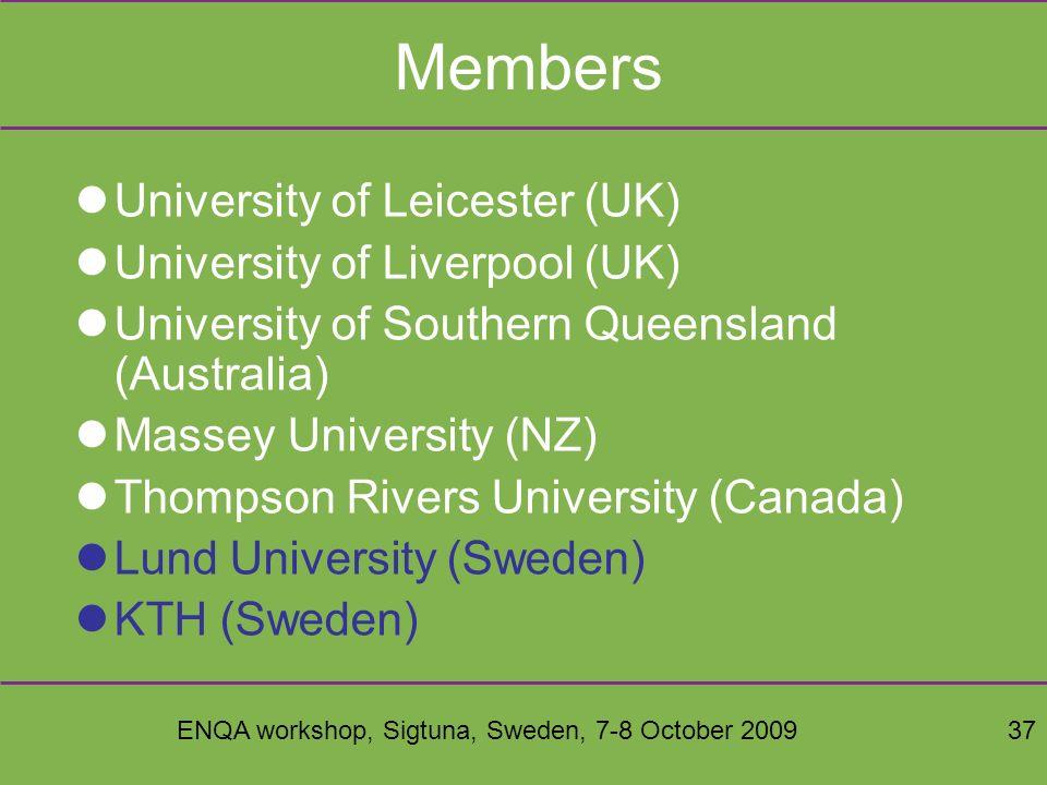 ENQA workshop, Sigtuna, Sweden, 7-8 October 200937 Members University of Leicester (UK) University of Liverpool (UK) University of Southern Queensland (Australia) Massey University (NZ) Thompson Rivers University (Canada) Lund University (Sweden) KTH (Sweden)