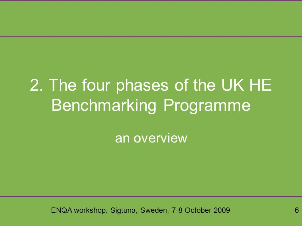 ENQA workshop, Sigtuna, Sweden, 7-8 October 200917 Pick&Mix Scoring Use a 6-point scale (1-6) –5 (cf Likert, MIT90s levels) plus 1 more for excellence Contextualised by scoring commentary There are always issues of judging progress especially best practice The 6 levels are mapped to 4 colours in a traffic lights system –red, amber, olive, green