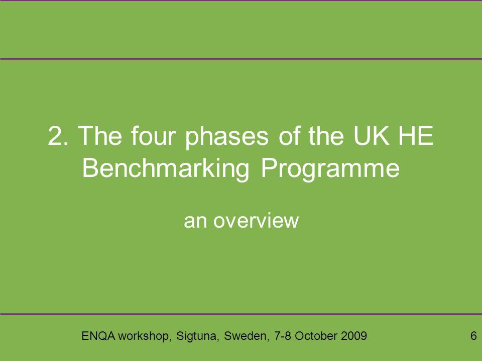 ENQA workshop, Sigtuna, Sweden, 7-8 October 20096 2.