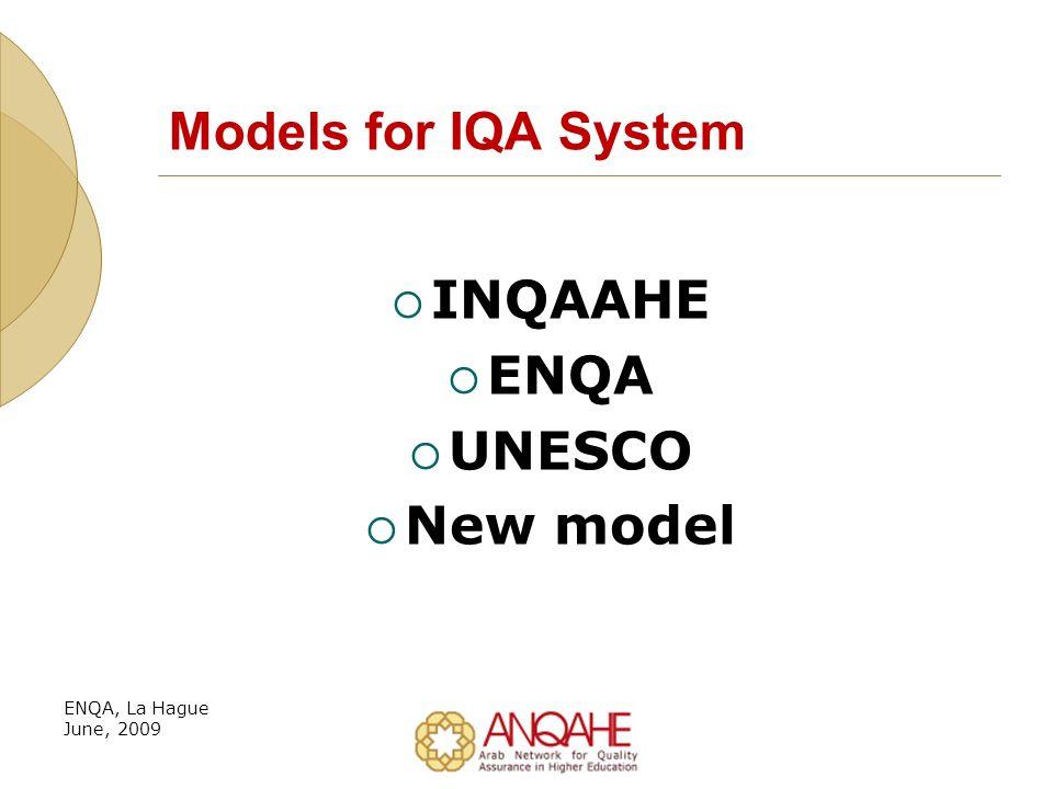 Models for IQA System INQAAHE ENQA UNESCO New model ENQA, La Hague June, 2009