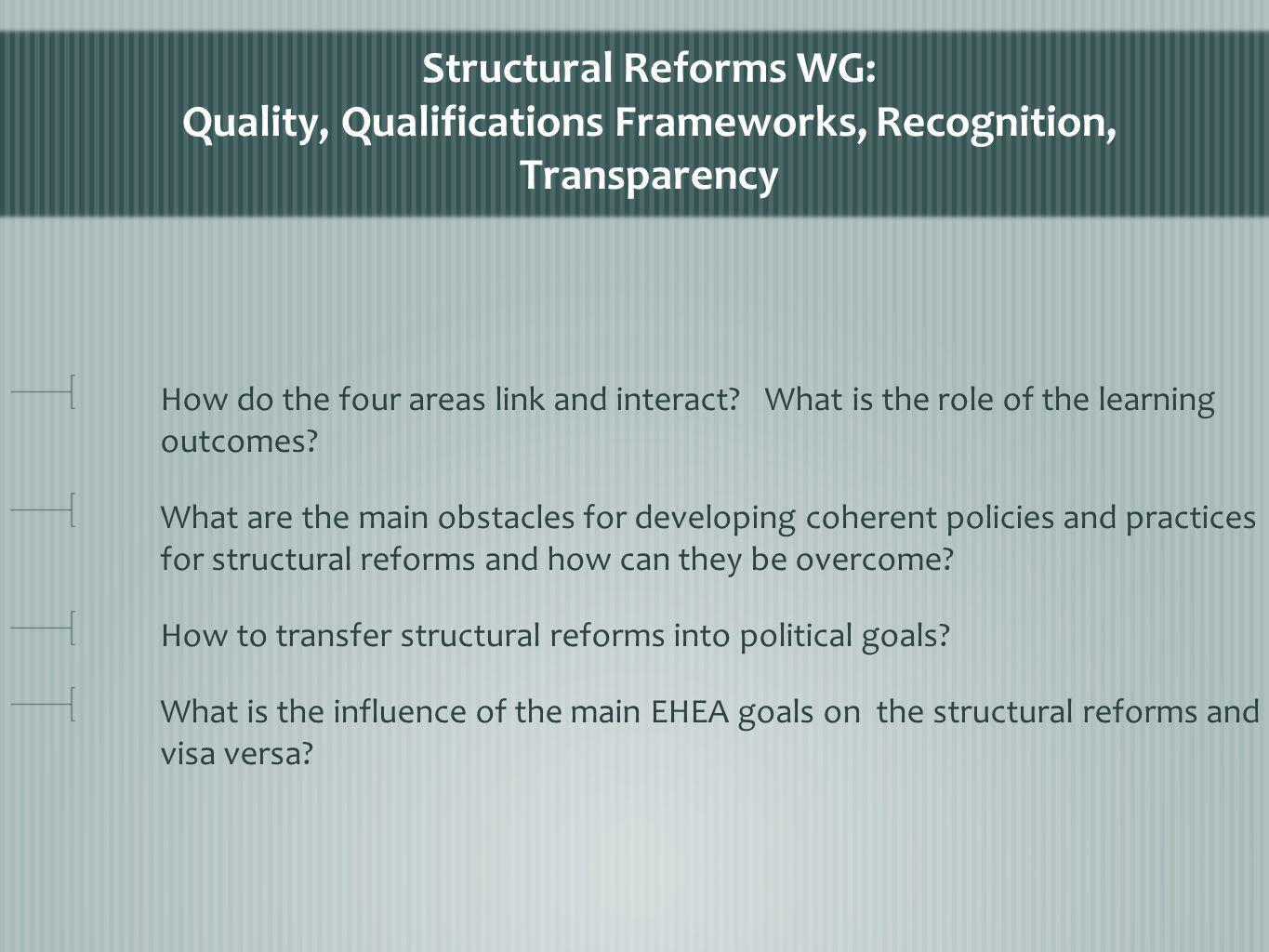 Structural Reforms WG: Quality, Qualifications Frameworks, Recognition, Transparency How do the four areas link and interact.