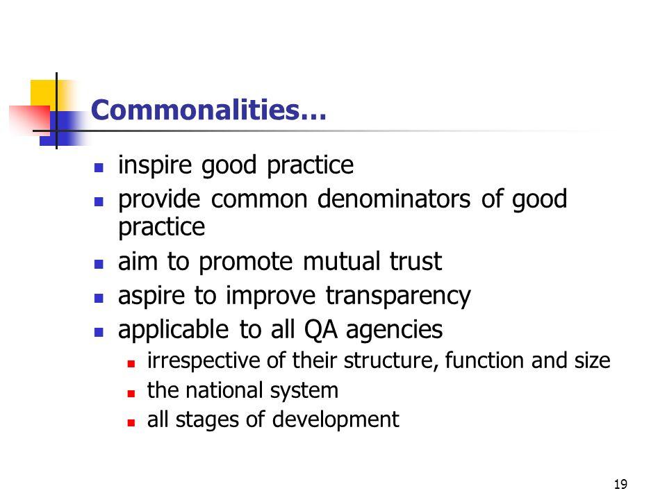 19 Commonalities… inspire good practice provide common denominators of good practice aim to promote mutual trust aspire to improve transparency applic