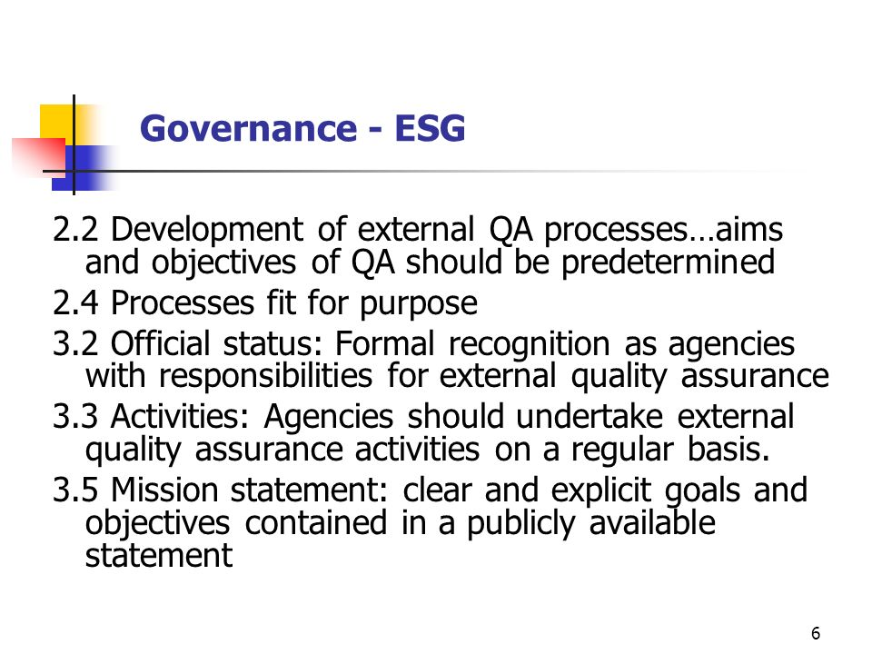 6 Governance - ESG 2.2 Development of external QA processes…aims and objectives of QA should be predetermined 2.4 Processes fit for purpose 3.2 Offici
