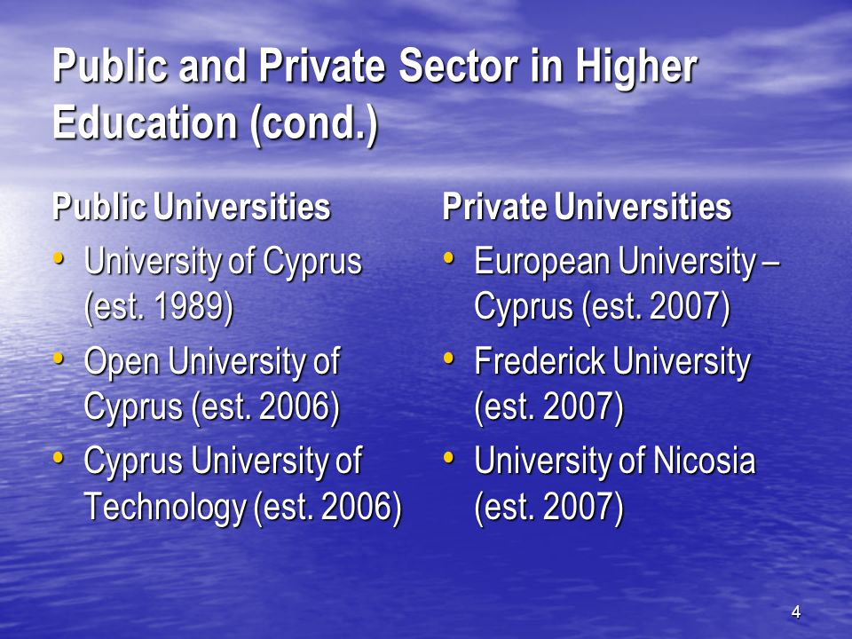 5 Public and Private Sector in Higher Education Public Institutes of Higher Education Cyprus Police Academy Cyprus Police Academy Forestry School Forestry School Mediterranean Institute of Management Mediterranean Institute of Management Tourist Guides School Tourist Guides School Public Health Inspectors School Public Health Inspectors School Private Institutes of Higher Education …Quite a few(!) 31, out of which 22 have accredited programs (5 Masters, 56 Bachelors, 7 Higher Diplomas, 107 Diplomas, 6 Certificates) …Quite a few(!) 31, out of which 22 have accredited programs (5 Masters, 56 Bachelors, 7 Higher Diplomas, 107 Diplomas, 6 Certificates)