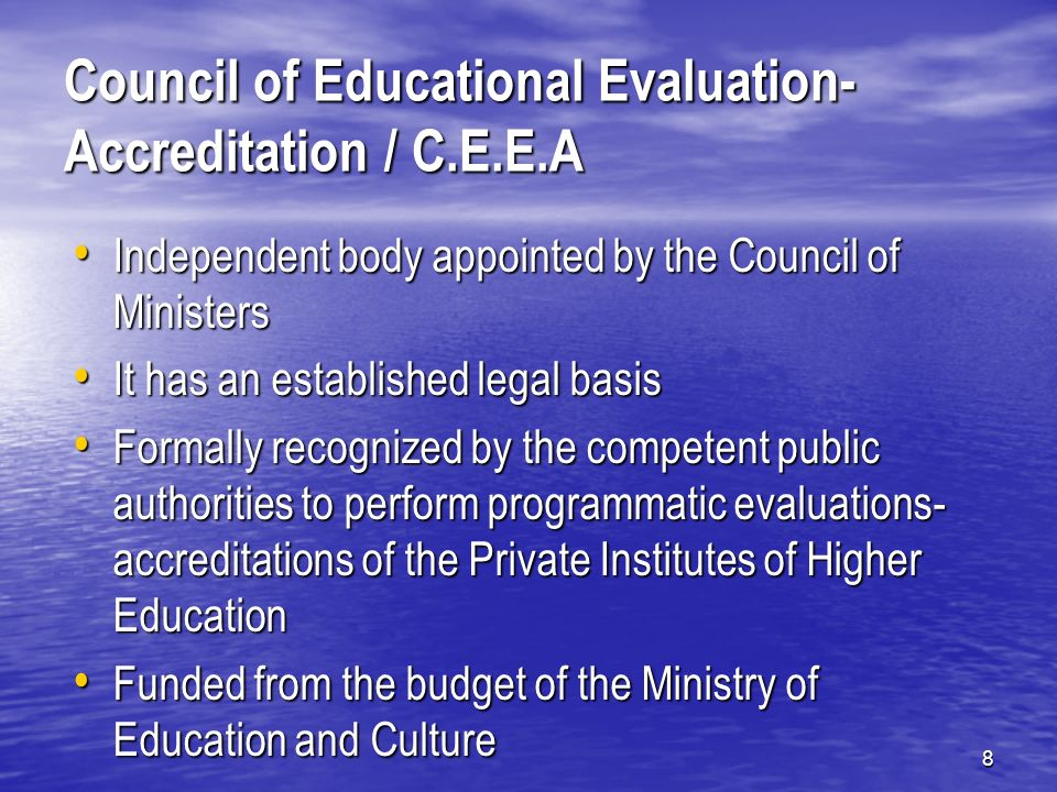 19 Cypriot Quality Assurance Agency for Higher Education/Κυπριακός Φορέας Διασφάλισης και Πιστοποίησης Ποιότητας στην Εκπαίδευση Established by law on October 5, 2007 Established by law on October 5, 2007