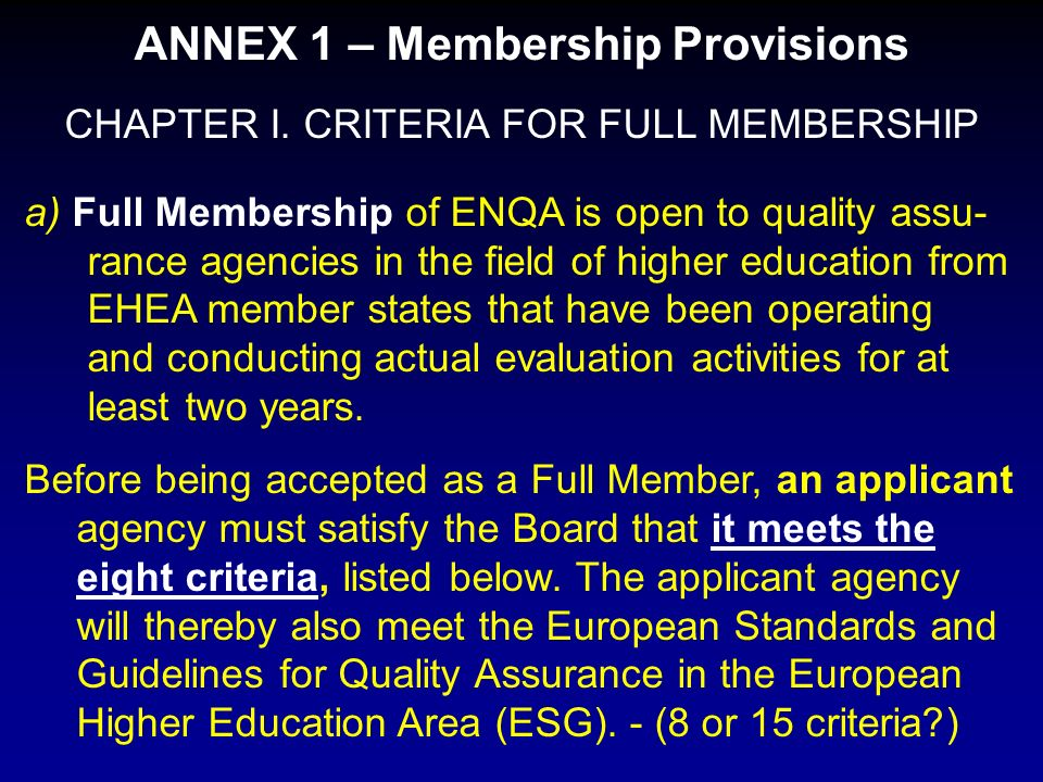 ANNEX 1 – Membership Provisions CHAPTER I.