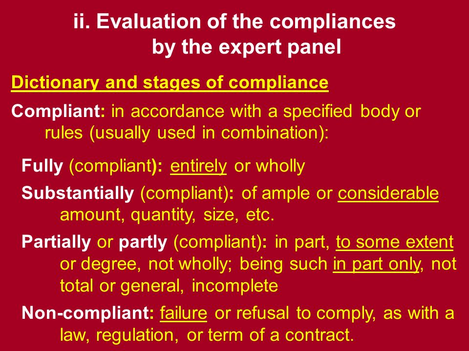 ENQA National reviews (quide): summarised conclusion stating whether the agency is - fully or substantially compliant; - partially compliant; or - non-compliant.