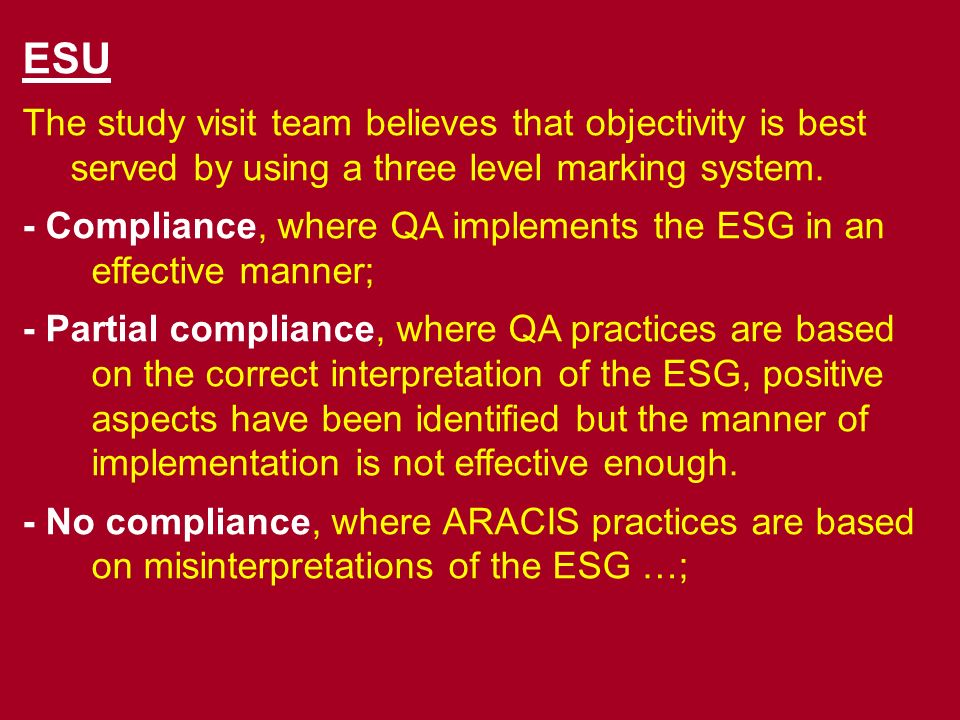 11 Executive summary 2+- Glossary 32 Introduction (giving contextual information: reason(s) for the commis- sioning of the review; the place of the agency in the quality assurance structure of its jurisdiction; the main functions; the engagement of the agency with the ESG); 43 Findings (each membership criterion should be discussed separately) 4.13.1 4.23.2 4.33.3 4.43.4 4.53.5 4.63.6 4.73.7 4.83.8 5+4 Any sections relating to additional Terms of Reference of the review 65 Conclusion and recommendations (?) 76 Annexes (Key pieces of evidence – i.e.