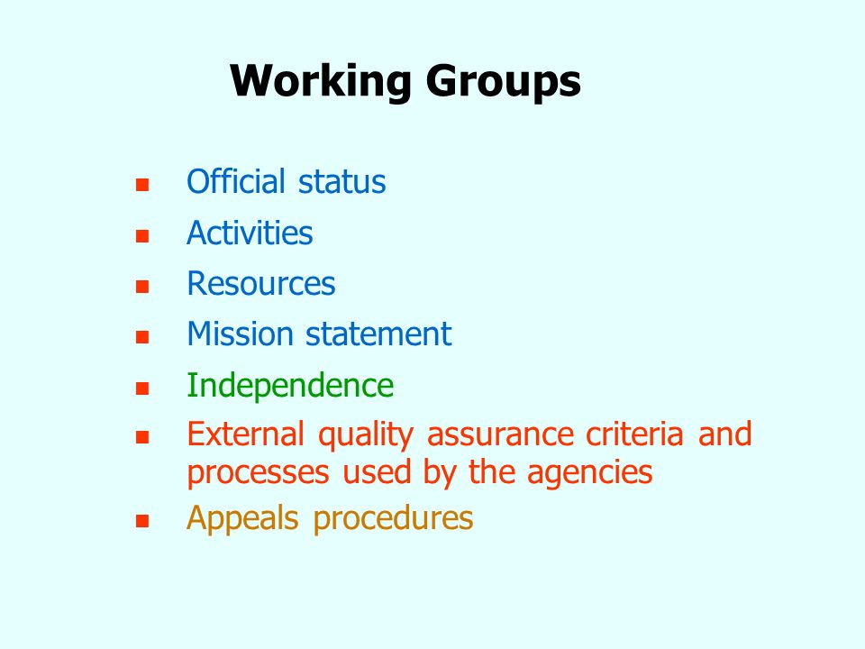 Working Groups Official status Activities Resources Mission statement Independence External quality assurance criteria and processes used by the agencies Appeals procedures