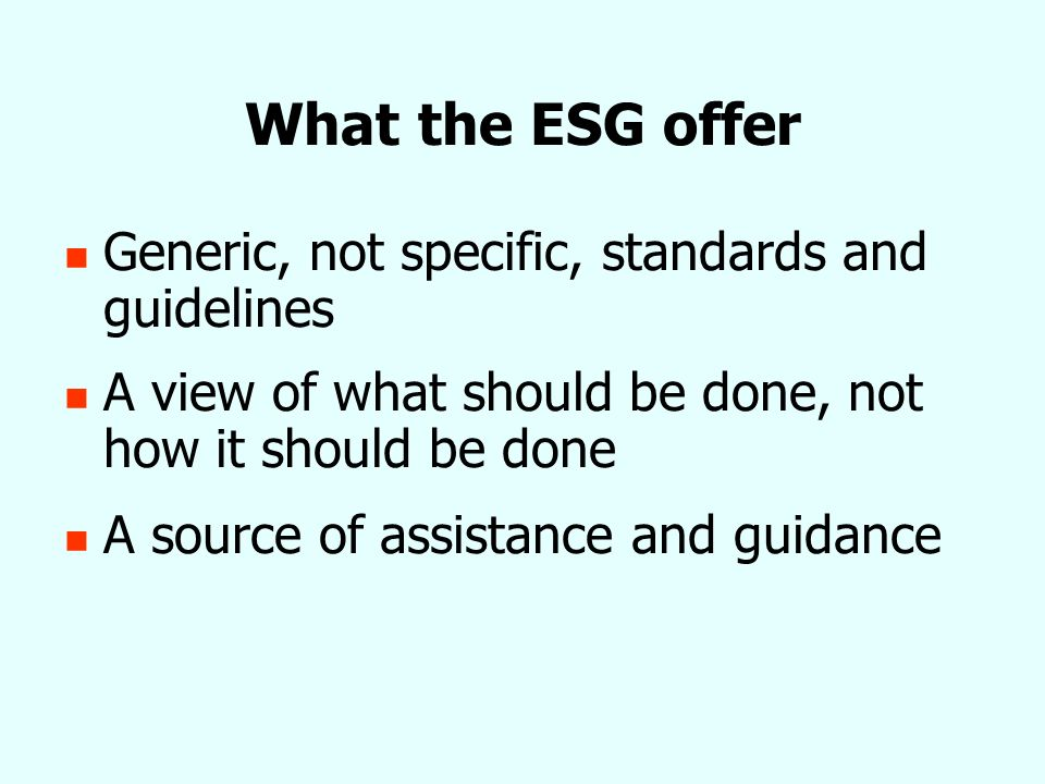 What the ESG offer Generic, not specific, standards and guidelines A view of what should be done, not how it should be done A source of assistance and guidance