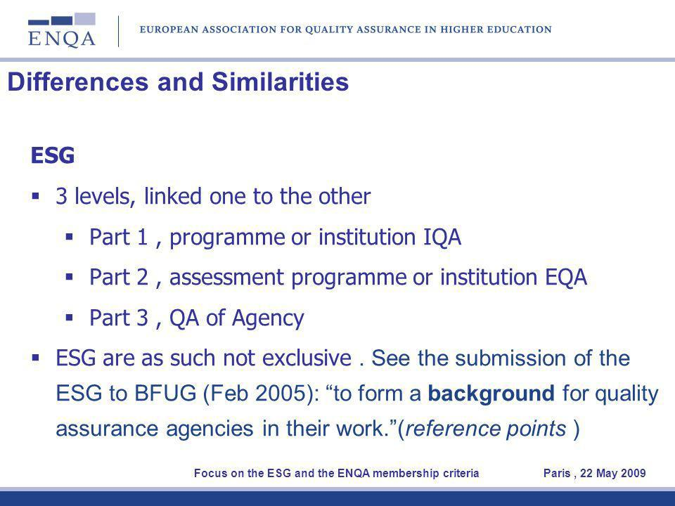Differences and Similarities ESG 3 levels, linked one to the other Part 1, programme or institution IQA Part 2, assessment programme or institution EQA Part 3, QA of Agency ESG are as such not exclusive.