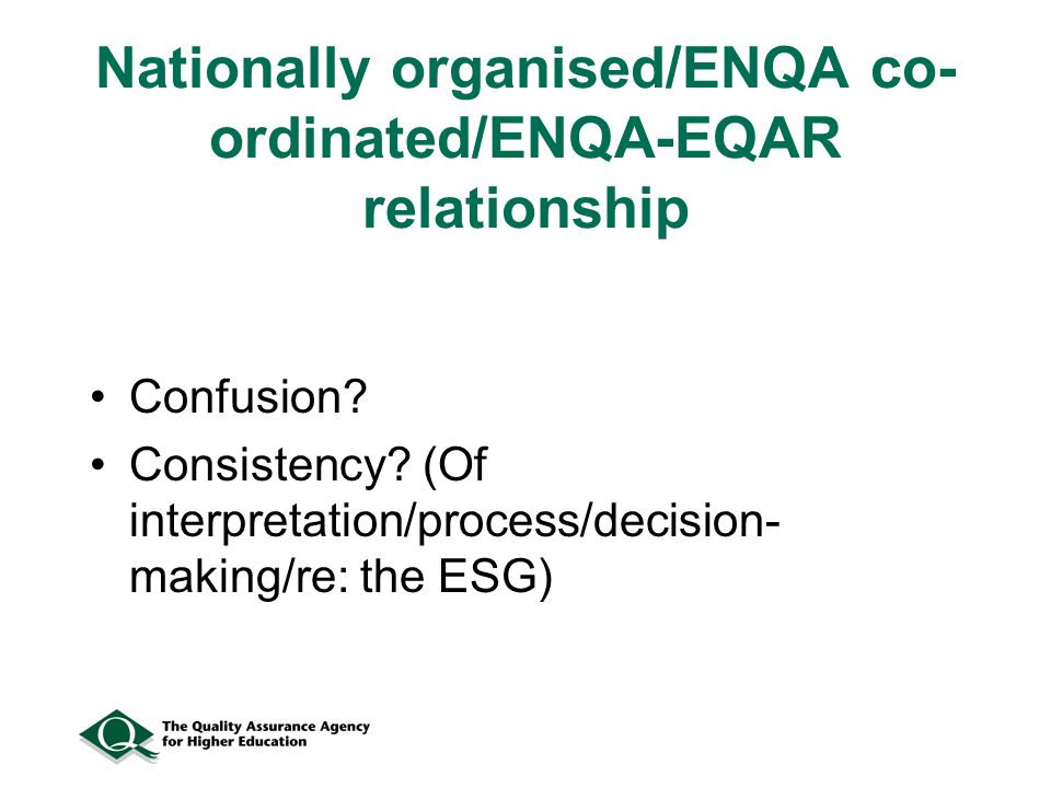 Nationally organised/ENQA co- ordinated/ENQA-EQAR relationship Confusion.