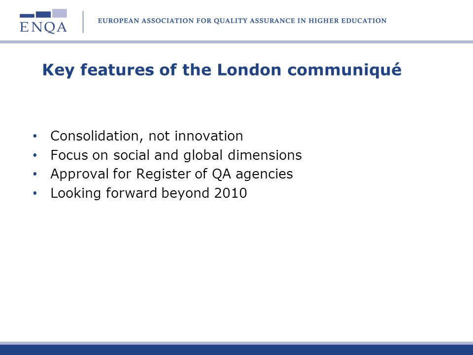 The Register – progress to date Adoption of proposals by ministers in London Working group set up by E4 Temporary development manager appointed Statutes of new organisation being drafted Envisaged first applications June 2008