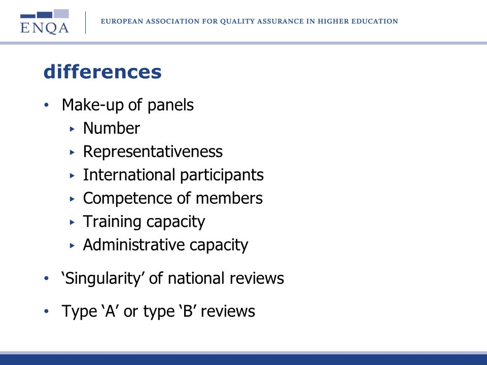 differences Make-up of panels Number Representativeness International participants Competence of members Training capacity Administrative capacity Singularity of national reviews Type A or type B reviews