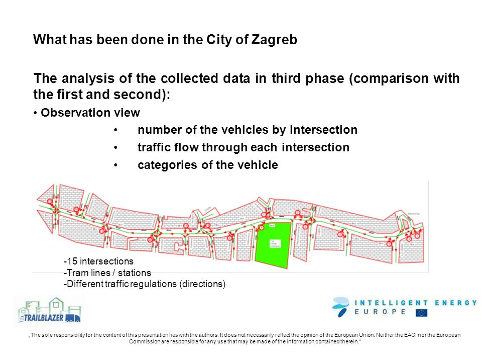 What has been done in the City of Zagreb The analysis of the collected data in third phase (comparison with the first and second): Observation view number of the vehicles by intersection traffic flow through each intersection categories of the vehicle -15 intersections -Tram lines / stations -Different traffic regulations (directions)