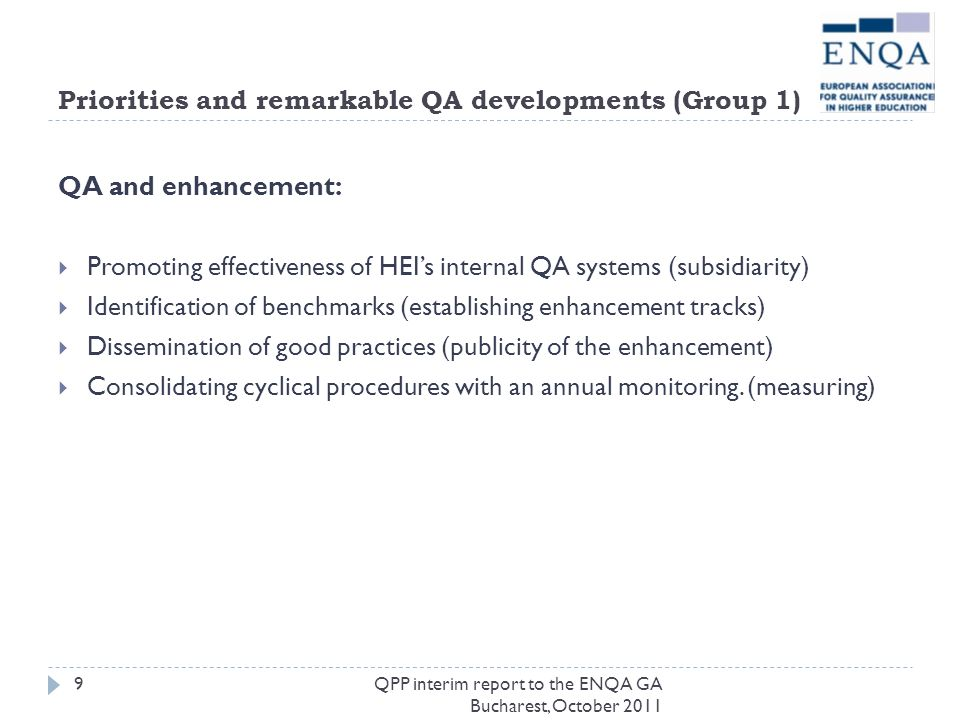 Priorities and remarkable QA developments (Group 1) QA and enhancement: Promoting effectiveness of HEIs internal QA systems (subsidiarity) Identificat