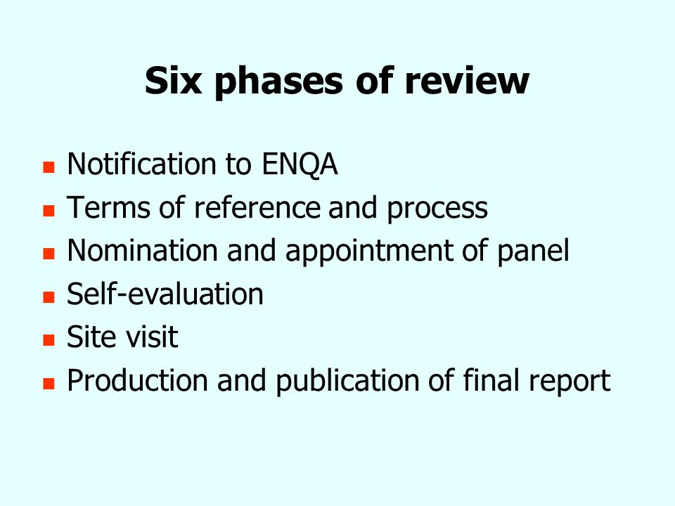Required reporting outcomes for ENQA purposes Specified information about the agency and the review process For each membership criterion Summary of evidence Analysis of evidence in respect of the criterion Judgement of the extent that the criterion is met (fully compliant; substantially compliant; partially compliant; non-compliant)