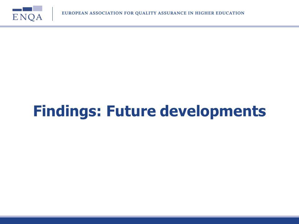 Findings: Future developments