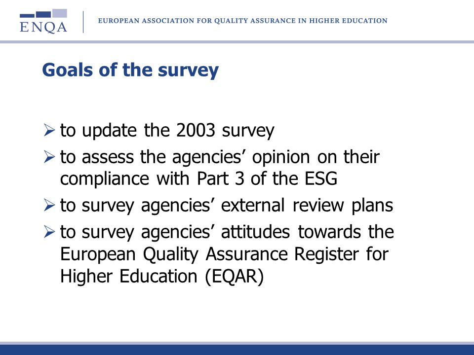 Goals of the survey to update the 2003 survey to assess the agencies opinion on their compliance with Part 3 of the ESG to survey agencies external re